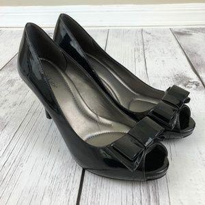 Kelly & Katie Black Patent Peep Toe Heels